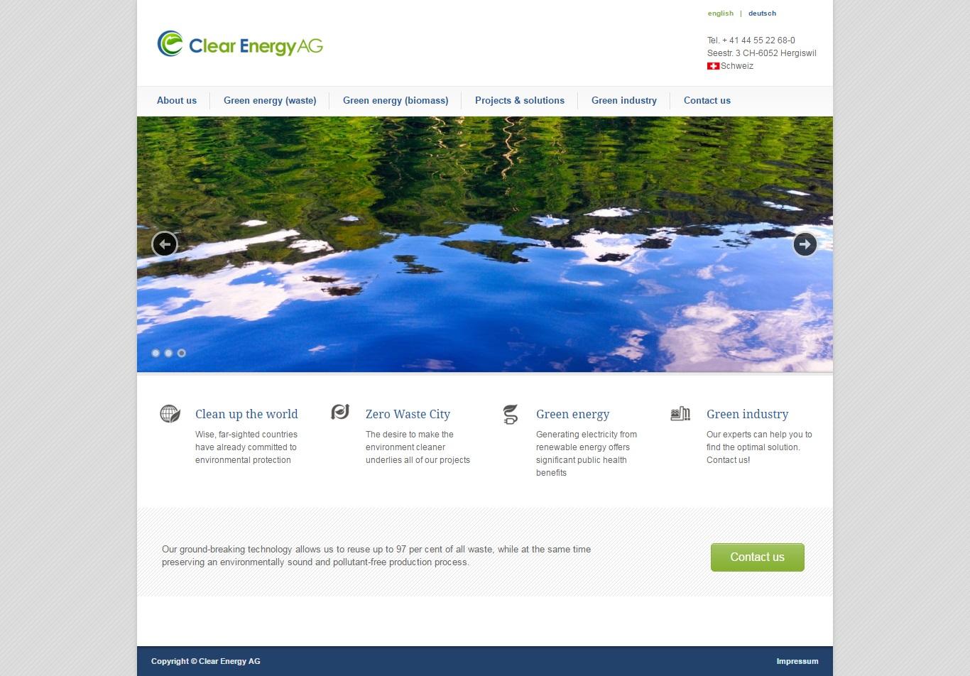 Экологичные технологии из Швейцарии Clear Energy AG